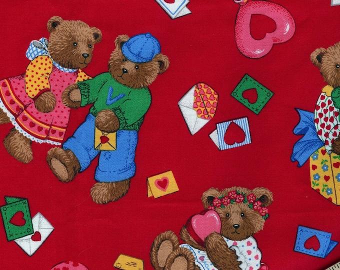 Teddy Bears valentine fabric quilting cotton