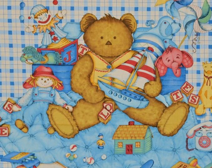Vintage Teddy Bear fabric quilt panel, Leslie Beck