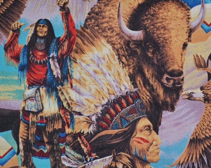 First Americans fabric buffalo fabric Indian Chief medicine man horses