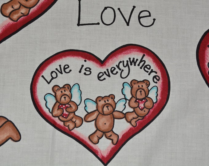 Valentine love Teddy bear fabric with teddy bear angels
