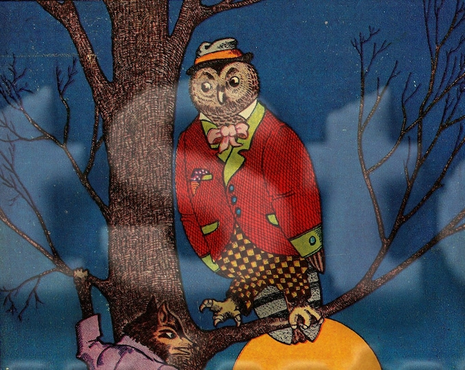Downloadable owl and moon image Halloween Autumn night