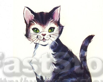 Retro kitten graphic image for scrapbooking JPG and PNG files