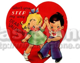 Vintage Valentine card, 1950s school valentine, downloadable printable image JPG and PNG