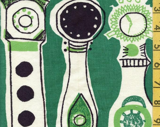 Printex upholstery fabric 1950s pre Marimekko, Grandfather clocks Printex Irja Leino, 3 yards