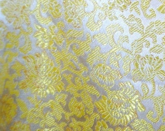 Yellow silk brocade fabric floral brocade made in Hong Kong Chinese SILK Asian Jacquard fabric bridal cape bridal clutch