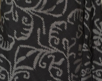 3 yards woven Ikat fabric ethnic Japanese Asian silver grey black ikat wrap shawl scarf ethnic throw home decor