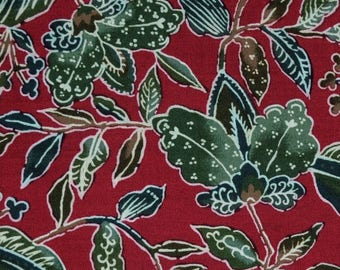 Tropical batik fabric naturescape nature leaves red green Hoffman fabrics tie dyed Woodblock Prints quilting fabric Asian Japanese