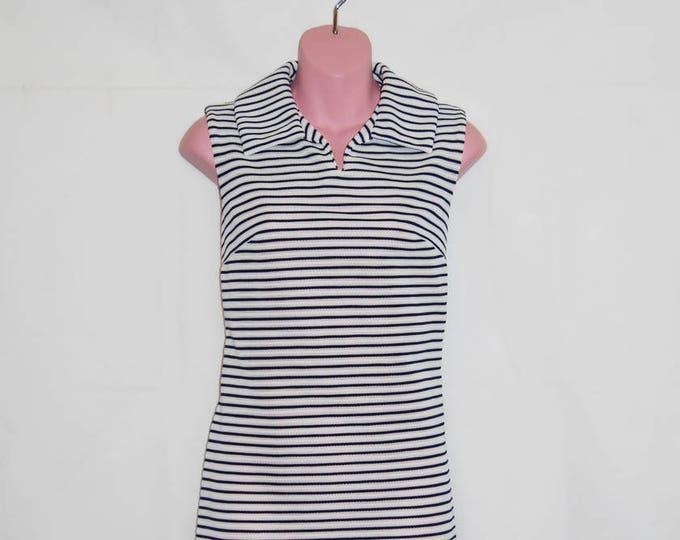 French mod dress L'Aiglon 1960s mod dress shift dress blue and white striped A line