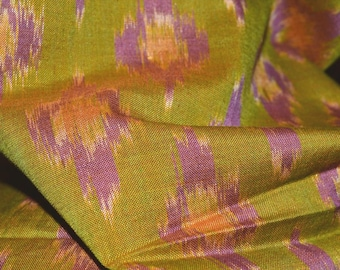 3 yards x 40 wide IKAT FABRIC Vintage Ikat cotton fabric for Bohemian Indie Asian fashion lime green loomed fabric scarves for women wrap