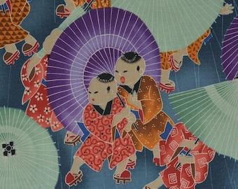 Novelty Japanese fabric Alexander Henry fabric Asian Japanese fabric Japanese cotton children boys day purple umbrellas quilt fabric