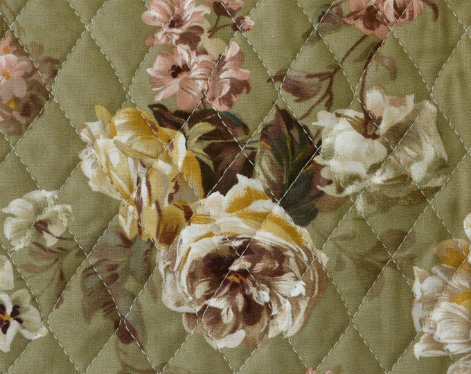 Victorian floral antique roses fabric Ready quilted Pre quilted cotton fabric