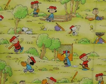 Charlie Brown Peanuts Gang baseball fabric
