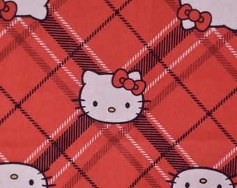 Hello Kitty fabric red Diamond Plaid from Sanrio and Springs