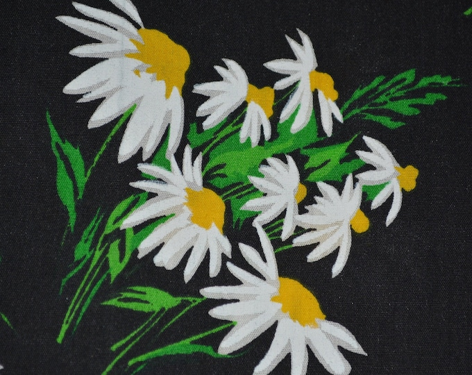 70s floral fabric Black Daisy fabric