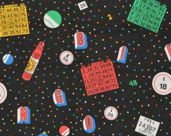Vintage Bingo fabric, novelty fabric by Springs Industries cotton screen print