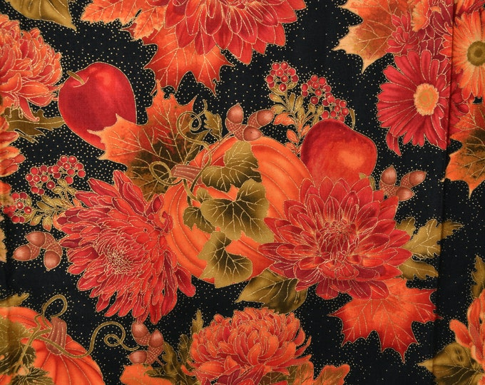 Fall floral fabric, pumpkins Autumn harvest, Timeless Treasures SoHo