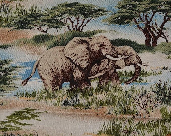 African safari animals fabric elephant Kilimanjaro Robert Kaufman fabric