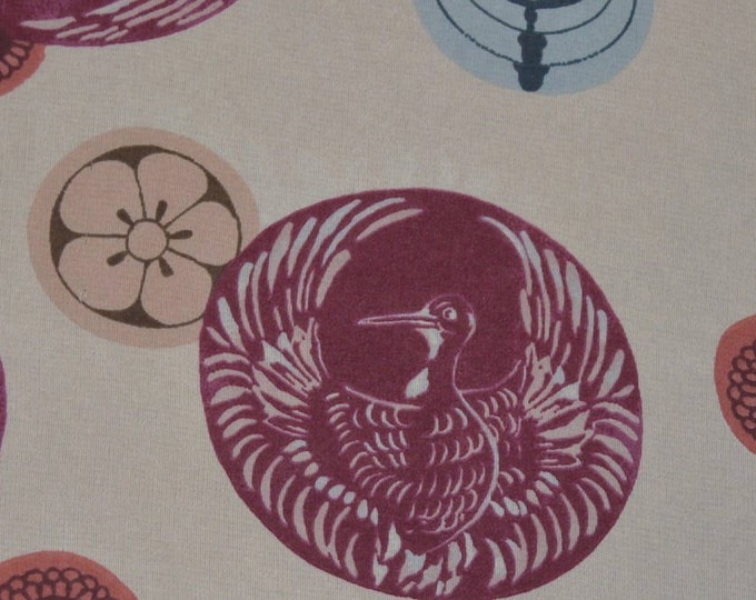 Sheer fabric nylon with Japanese crane fabric Japanese mon extra wide