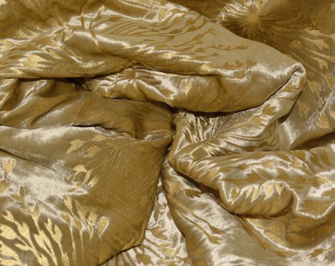 Velvet fabric, botanical plants embossed with gold