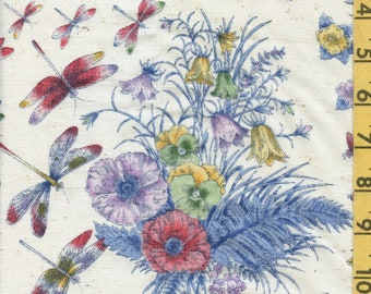 Vintage 1970s fabric, dragonflies and floral fabric by the yard, Concord