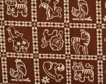 Childrens vintage fabric with Zoo animals
