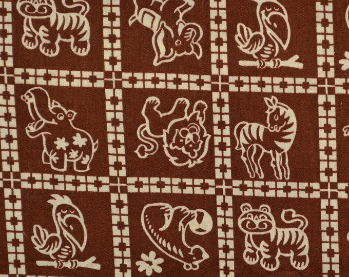 Zoo animals fabric, safari animals Childrens vintage fabric