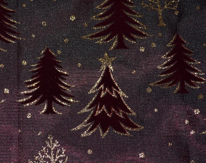 Flocked fabric Christmas fabric Burgundy gold glitter Christmas trees