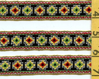 Vintage geometric trim, brocade Jacquard trim, 3 yards