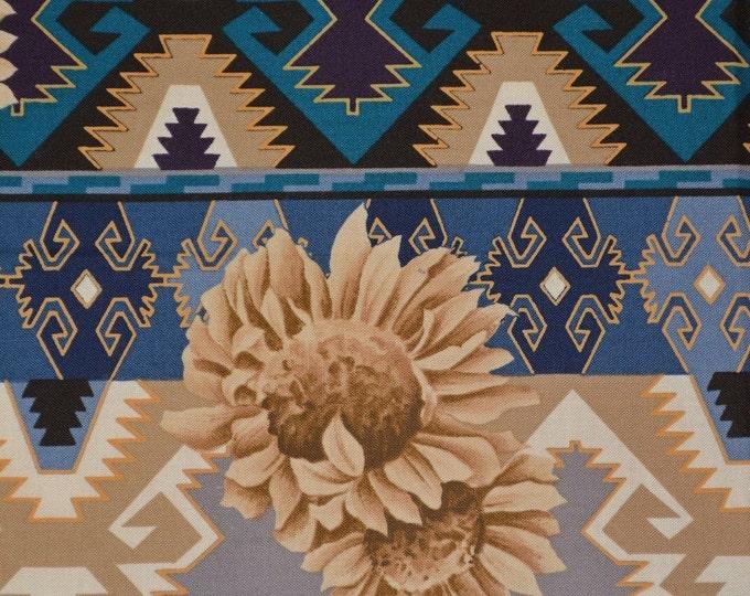 Blue Southwest fabric Native fabric sunflower fabric Alexander Henry