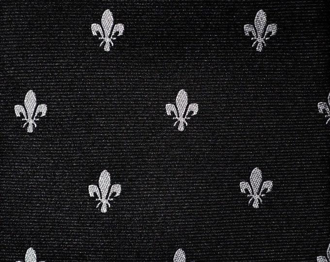 Tie Bar Silver fleur de lis black silk necktie