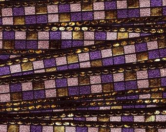 Metallic trim by the yard, Purple geometric trim, deadstock