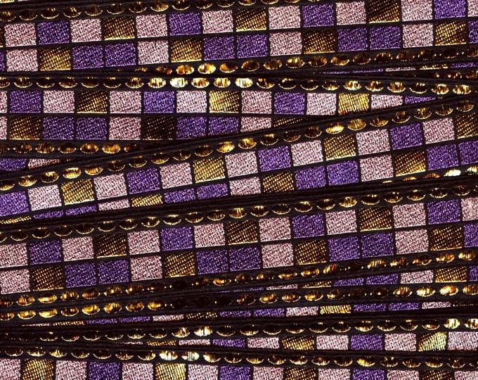 Metallic trim purple, vintage trim geometric trim, deadstock