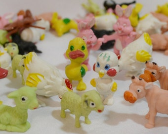 Vintage miniature plastic dime store toys made in Hong Kong