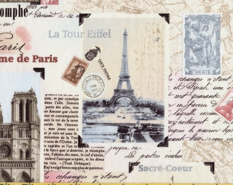 April in Paris France Postcard fabric, pre hemmed for window Timeless Treasures