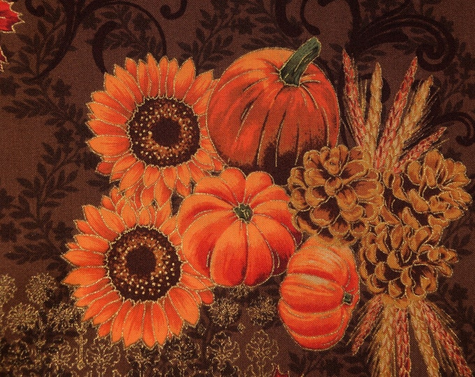 Harvest fabric, pumpkins with baroque damask Hoffman fabric