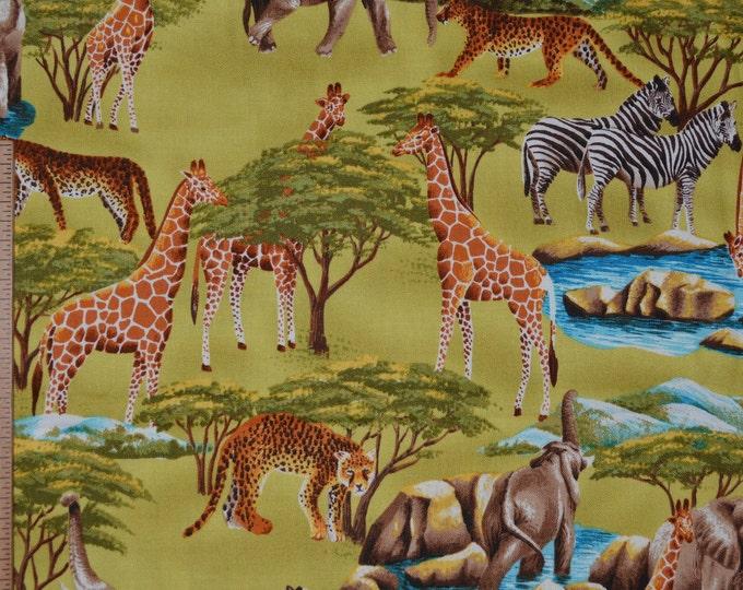Safari animals fabric, childrens Little Golden Book style African wildlife half yard