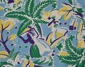 Vintage rayon fabric, Mexican tropical fabric, abstract Mexico culture
