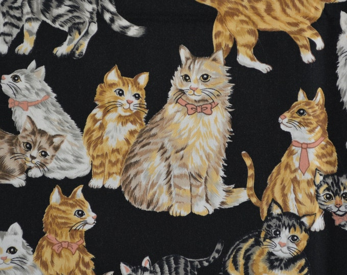Black Cat fabric vintage kitten fabric Hi-Fashion fabric