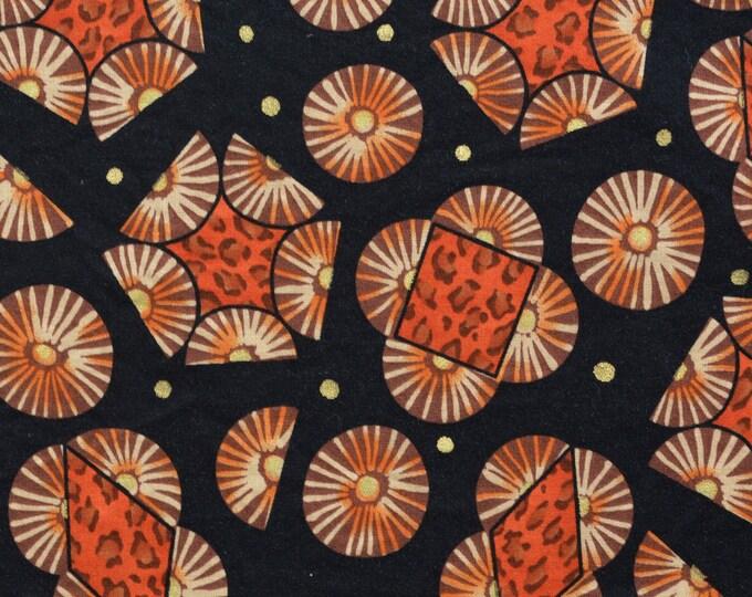 African print fabric African tribal fabric orange black fabric by the yard