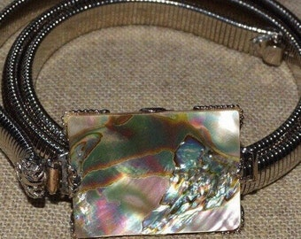 1960s Schreiner New York vintage jewelry abalone shell mod belt