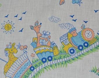 Animal train Vintage Baby fabric finds choo choo train fabric by the yard