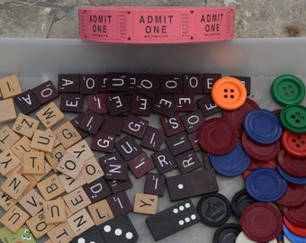 Vintage game pieces lot board game pieces scrabble poker chips