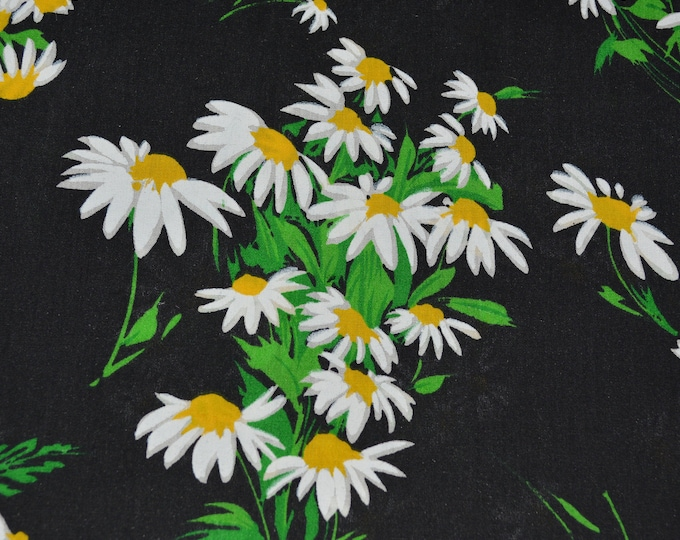 Daisies fabric Black floral fabric daisy bouquet floral fabric 70s