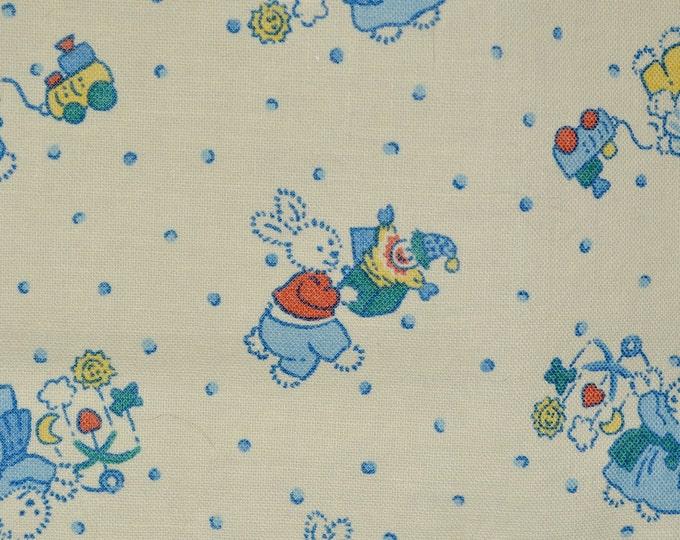 Blue baby boy bunny fabric, feedsack style, Cranston Print Works