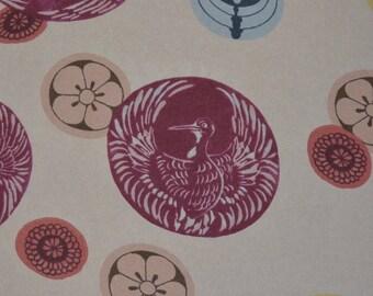 Sheer nylon organza fabric, Japanese mon floral geometrical print