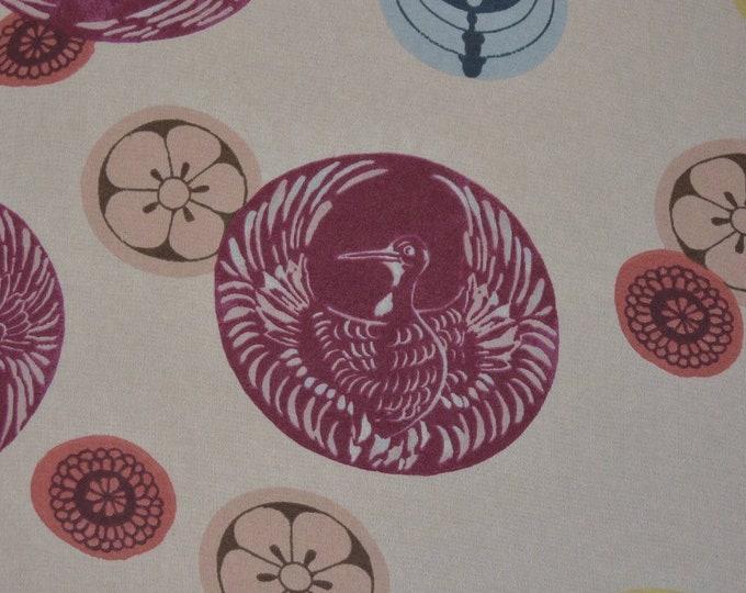 Sheer nylon organza fabric, Japanese mon floral see through