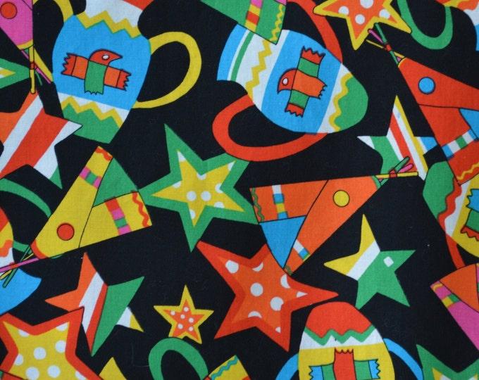 Colorful Native pottery fabric, Animated Western, Robert Kaufman fabric