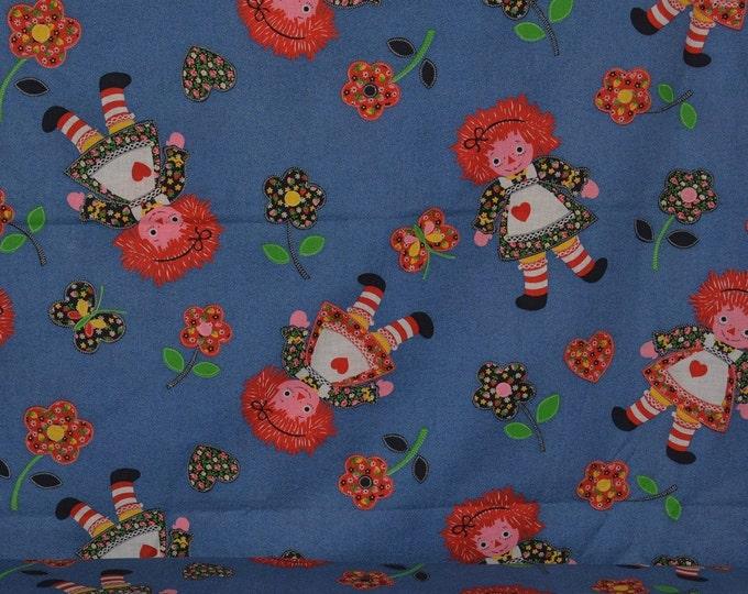 100 % cotton Raggedy Ann style doll Vintage fabric