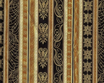 Gold metallic stripe fabric Hoffman fabrics holiday stripe