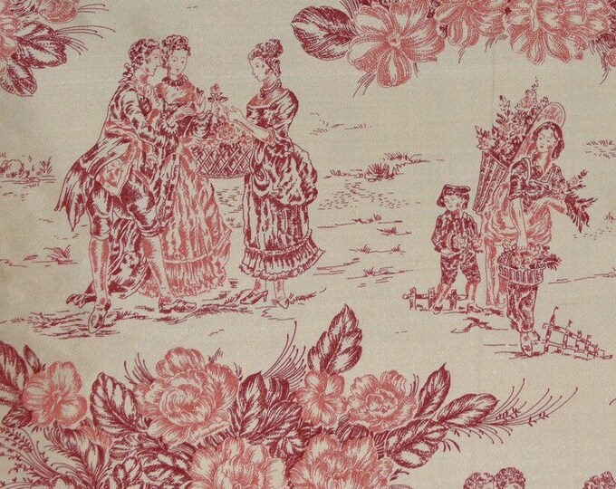 French silk fabric French toile fabric silk toile red toile